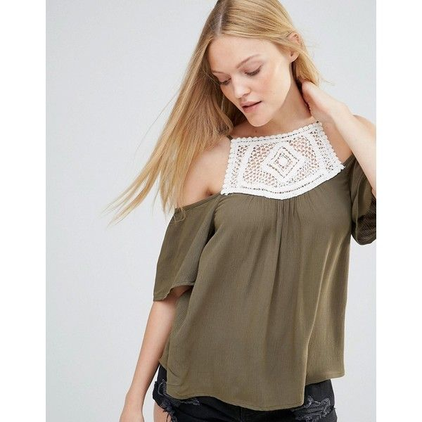 Vero Moda Crinkla Yoke Panel Top In Ivy Green ($25) ❤ liked on Polyvore featuring tops, green, cold shoulder tops, woven top, viscose tops, open shoulder top and macrame top