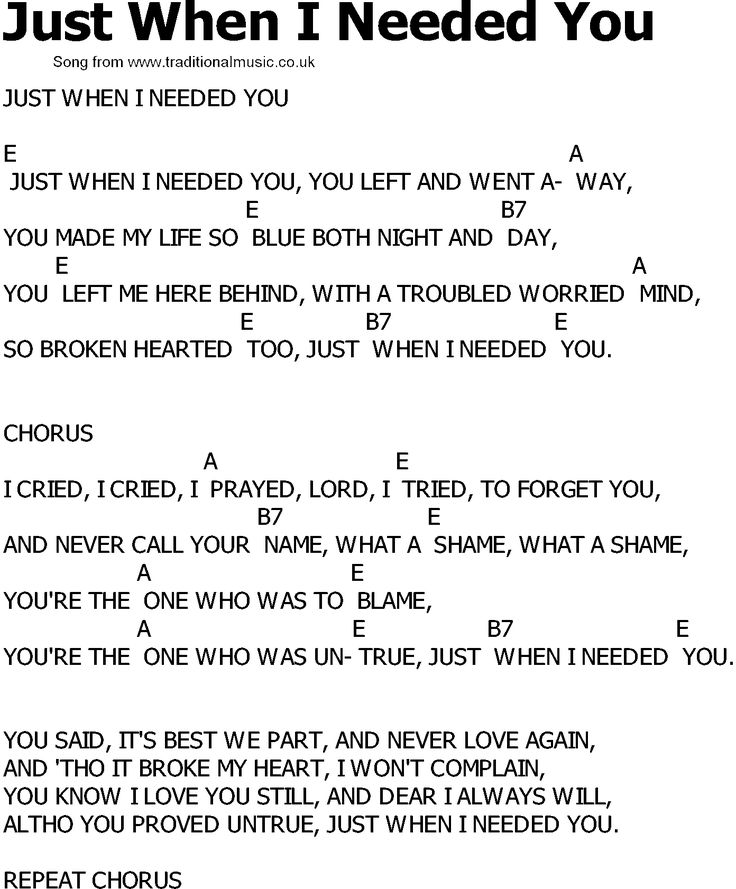 Old Country Song Lyrics With Chords - Just