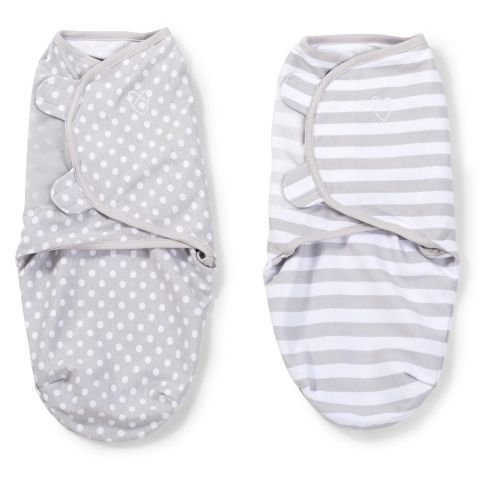 Summer Infant SwaddleMe Original Swaddle Grey Dot and Grey Stripe - Small 2 pack Kiddicare.com