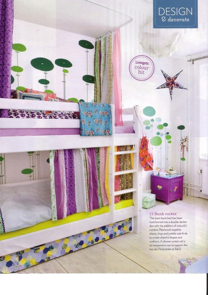 DIY 'built-in' bunk beds with curtains- love this! reminds me of the bunks we had as kids.