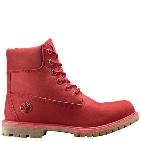 TIMBERLAND WOMEN'S LIMITED RELEASE RUBY RED 6-INCH PREMIUM WATERPROOF BOOTSSportswear