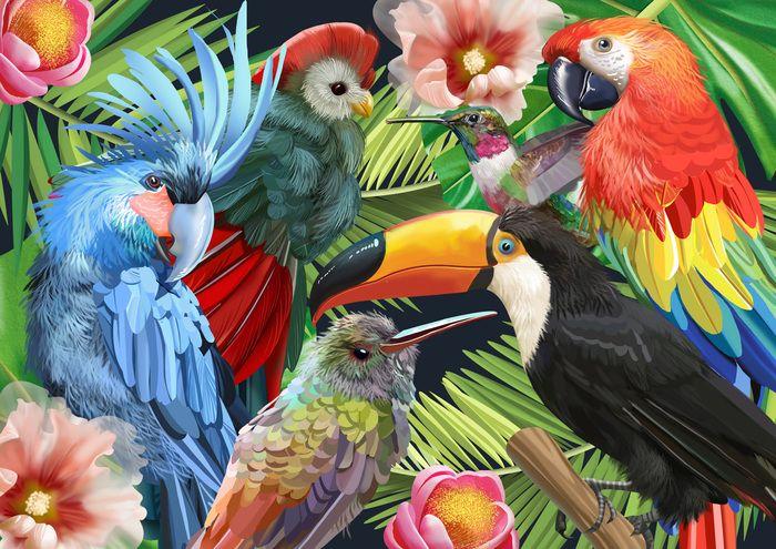 """Просмотреть иллюстрацию Принт """"Тропические птицы"""" для компании Faberlic из сообщества русскоязычных художников автора Роксолана в стилях: Декоративный, Реализм, нарисованная техниками: Растровая (цифровая) графика."""