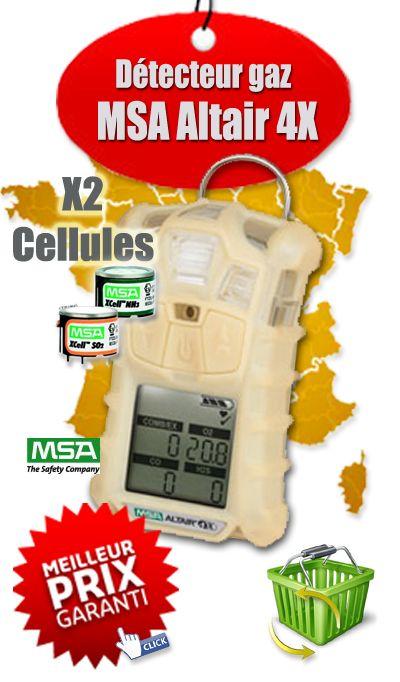 Détecteur multigaz portable Altair 4X (LIE, O2) - MSA Gallet 10110458 - 2 Cellules - Phosphorescent - Notre prix : 695,00 € l'unité