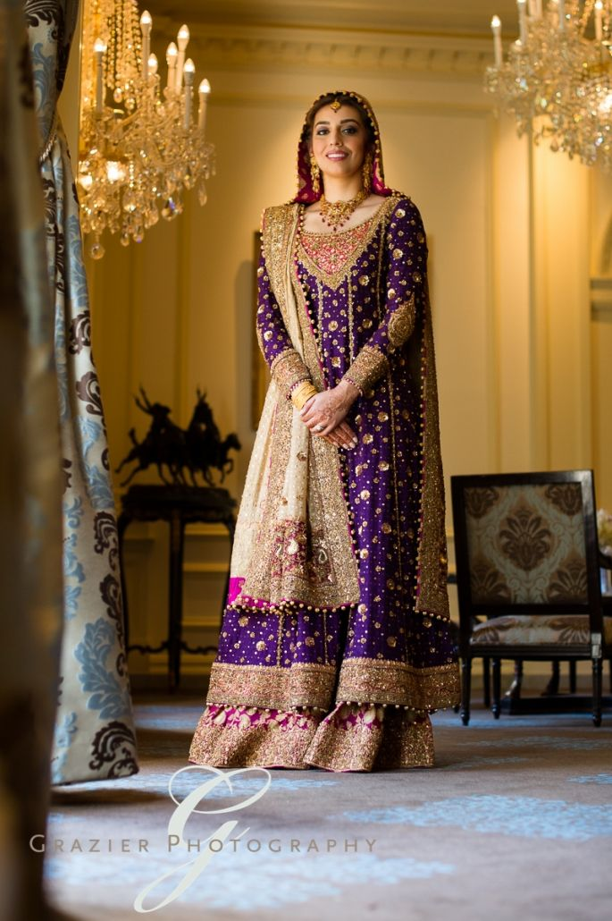 lovely bride in purple and gold dr haroon bridal sharara