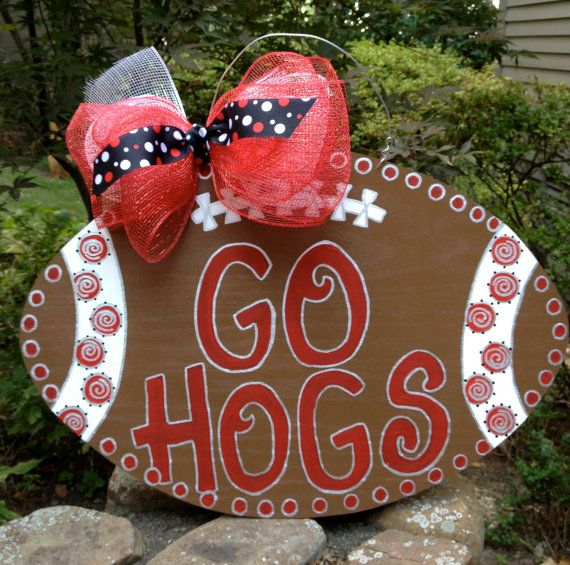 "Wooden, Hand Painted ""Go Hogs"" Football Door Decoration on Etsy, $45.00"