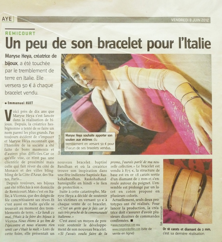"New article this day in ""l'avenir Huy Waremme"" on Maryse Heya and her bracelet Bandham for Italy.  #jewellery: Marys Heya, L Avenir Huy, Heya Jewellery, Jewellery Design, Bracelets Bandham, Huy Waremm"