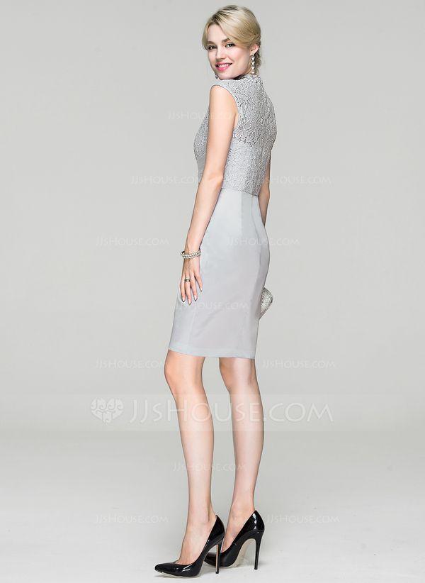 8977c2b41ccde Sheath/Column High Neck Knee-Length Charmeuse Cocktail Dress With Ruffle