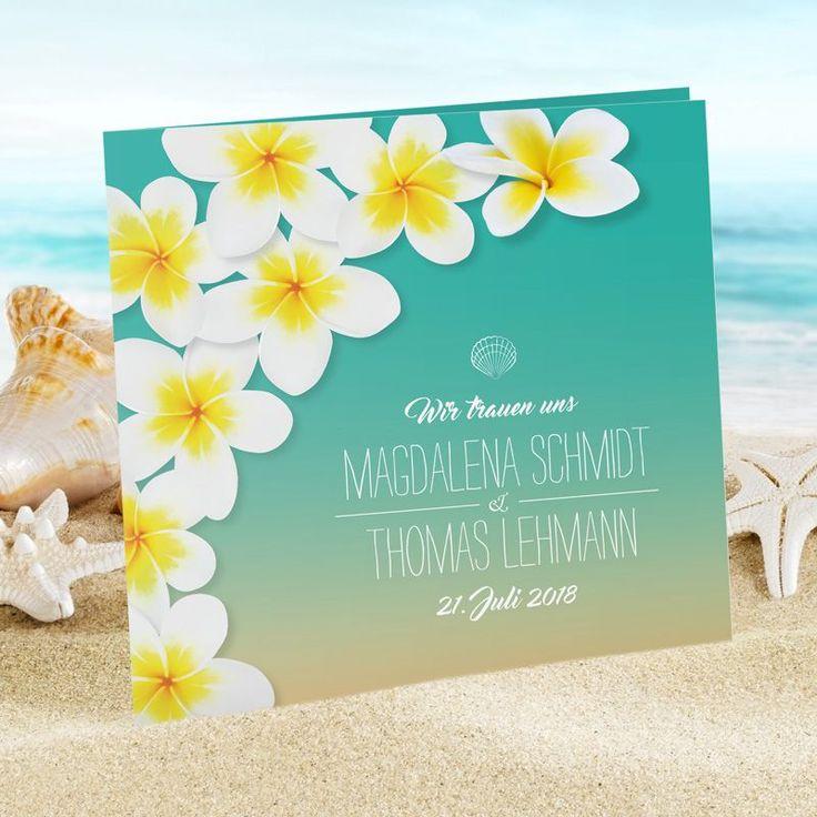 Urlaubsfeeling mit der #Hochzeitseinladung im #Frangipani Design