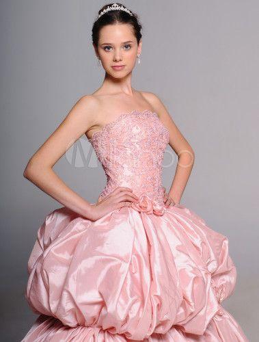 Свадебное платье бальное без бретелек со шлейфом из тафты с бусинами - Milanoo.com/ru