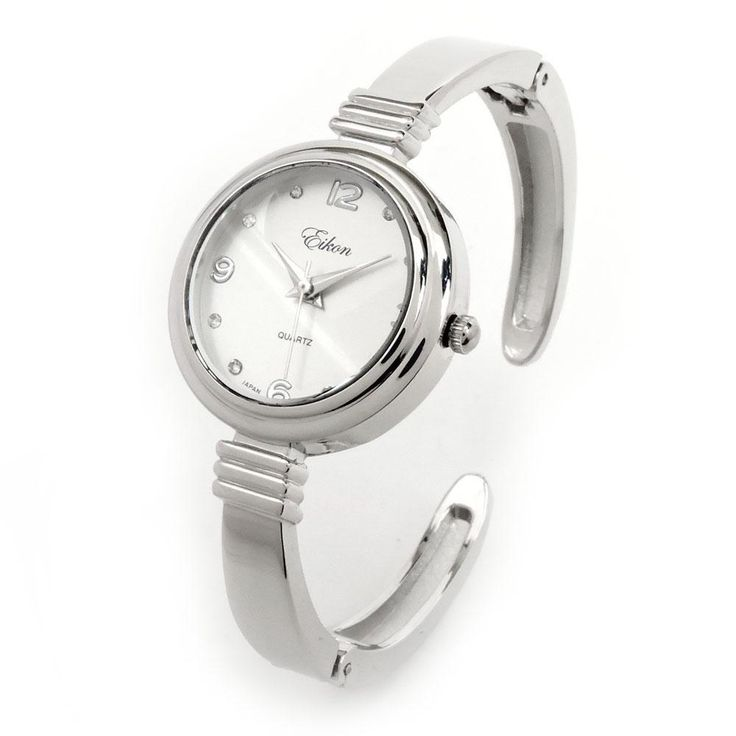 Silver-Tone Metal Band Round Case Crystal Hours Women's Bangle Cuff Watch