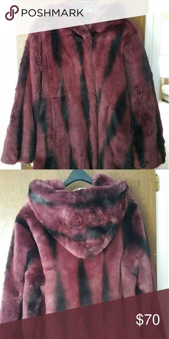 Faux fur hooded coat Red chinchilla hooded coat pamela mccoy Jackets & Coats