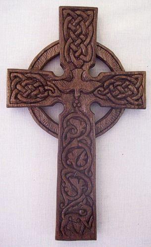 Black Walnut cross.  Dove of the holy spirit in center.