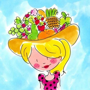Het meisje met de fruithoed kaart