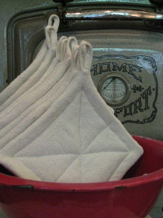 Grain Sack Pot Holders Vintage Feed Sack Farmhouse Rustic Kitchen Gift Basket…
