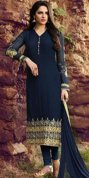 Royal Navy Blue Georgette Straight Suit With Dupatta.