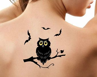 Halloween tatouage temporaire 1 hibou et chauves-souris tatouages