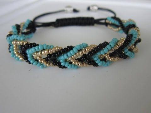 Shamballa Bracelet with 3 colors Seed Bead . Шамбала Браслет из Бисера. - YouTube