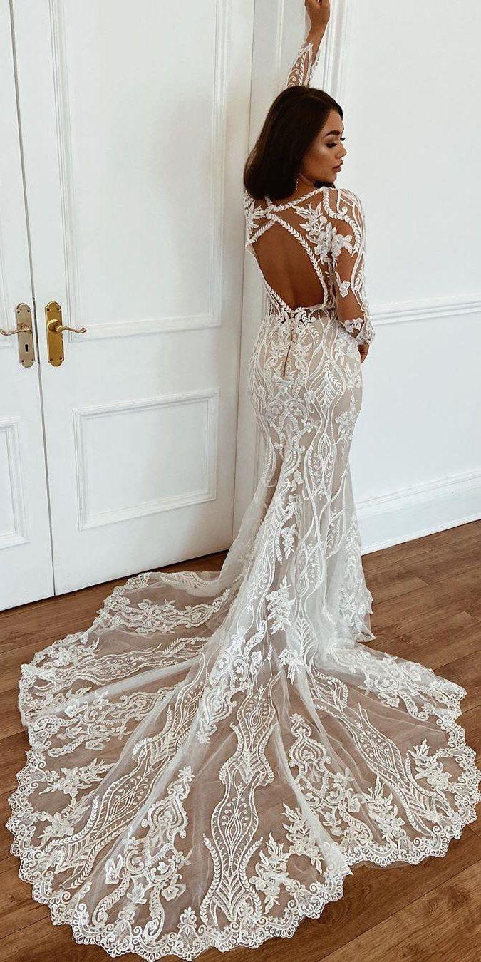 Eleganza Sposa Wedding Dresses 2021 Long Sleeve Wedding Dress Lace Long Sleeve Wedding Gowns Boho Wedding Dress Lace [ 1350 x 675 Pixel ]