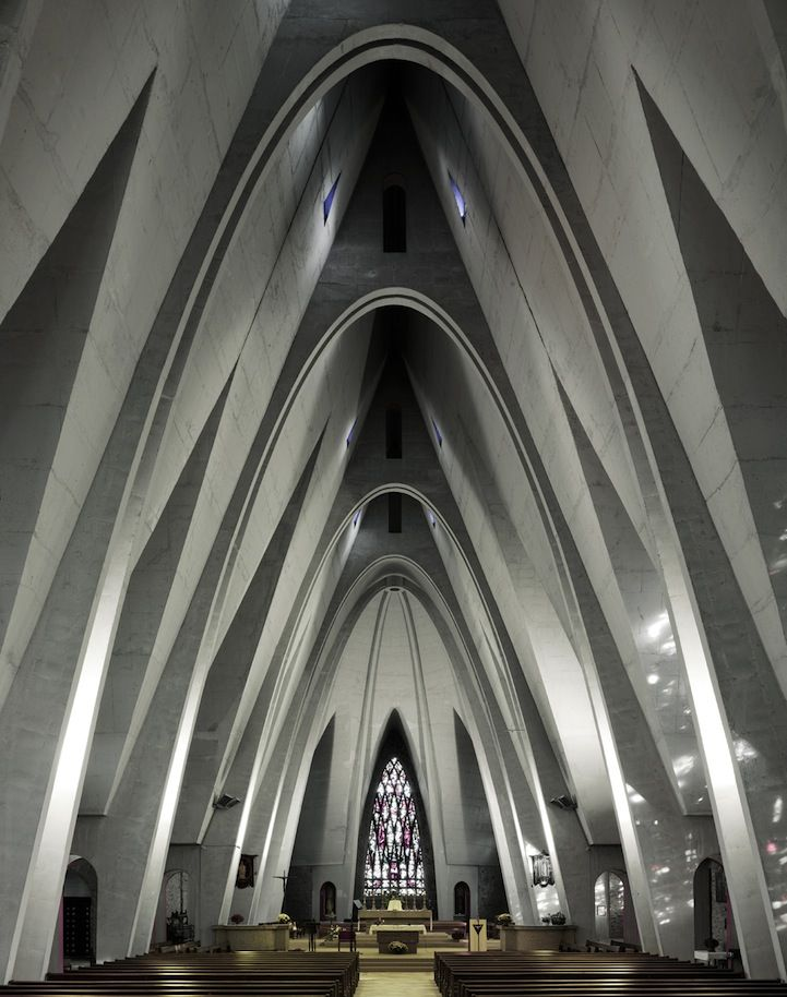 French photographer Fabrice Fouillet has traveled the world, capturing beautifully majestic churches whose architecture strays from traditional examples of cathedrals. The religious grounds that Fouillet has specifically chosen to document, many of which were built in the decades following World War II, boast modern designs with a minimalist aesthetic.  Blogs - My Modern Metropolis