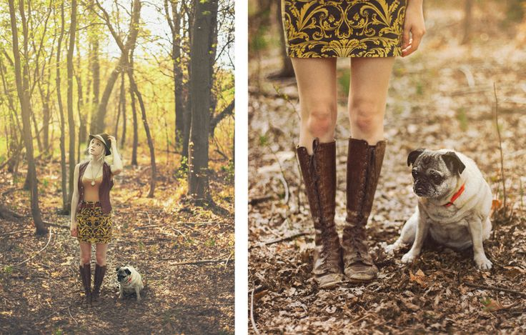 Go Explore. Alpine Fedora. Leather Vest. Curtain Skirt. Thrifted Boots. Pug.