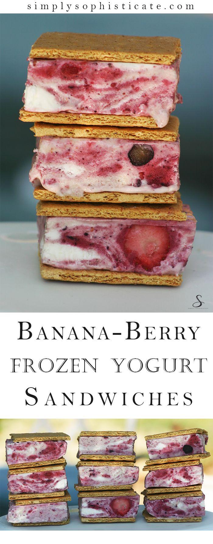 Banana Berry Frozen Yogurt Sandwiches