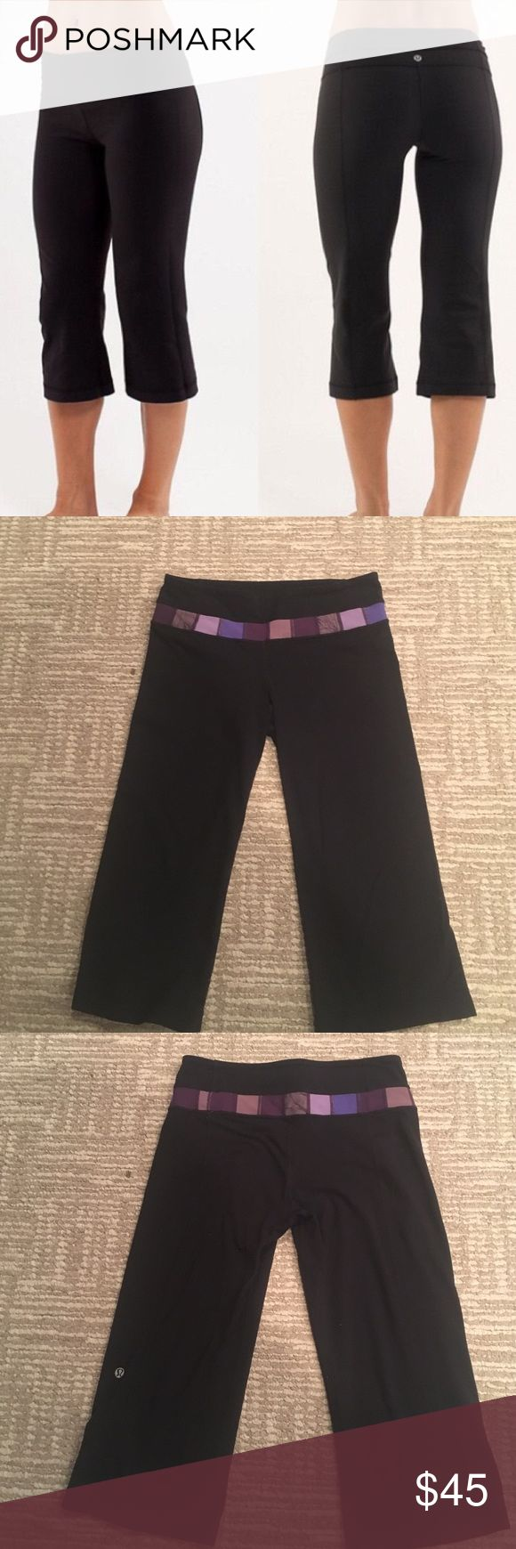 LULULEMON REVERSIBLE GROOVE CAPRIS Pre loved lululemon groove capris reversible one side solid black other side black with purple waistband super cute comfy and stylish some minor pilling from washing otherwise perfect condition! Follow for deals bundle for discounts lululemon athletica Pants Capris