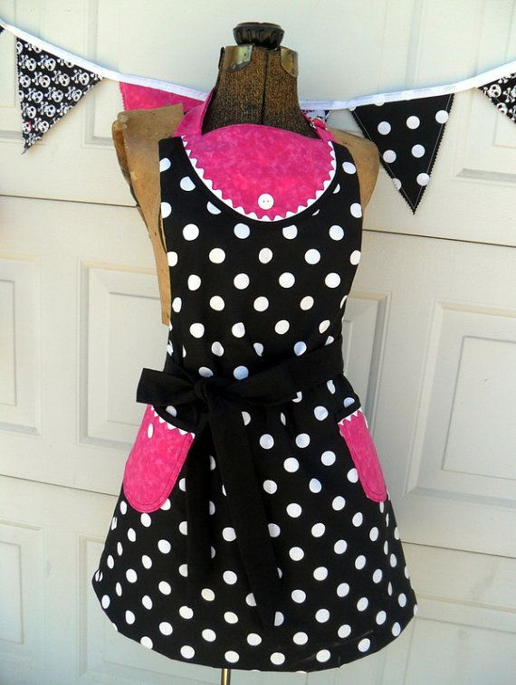 Retro Modern Apron Womens Reversible Apron in by Aprons2tie4, $38.00