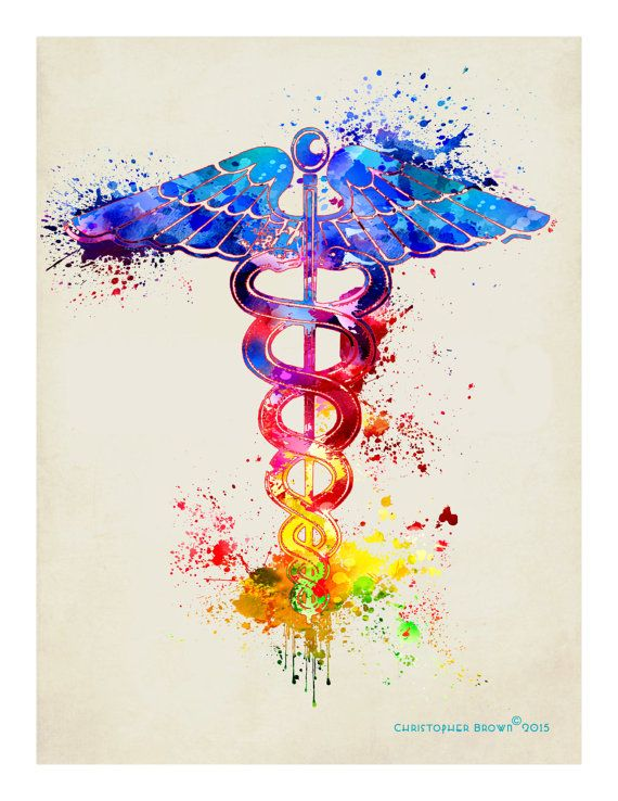 Fine Art Print Watercolor Caduceus 8.5 x 11 by ArtOfThePage