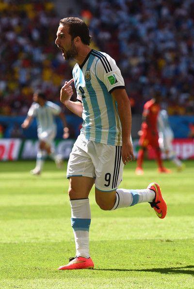 Gonzalo Higuain of Argentina against Belgium