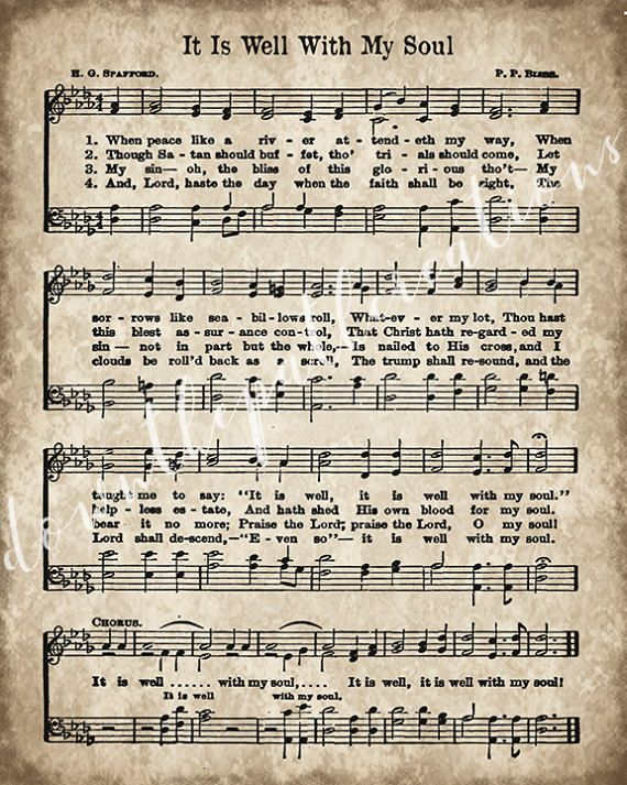 It Is Well With My Soul Print Printable Vintage Sheet Music Etsy In 2021 Hymn Sheet Music Hymn Music Hymns Lyrics