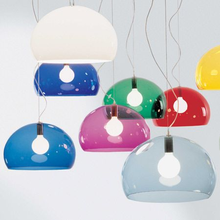 FL/Y Pendant- Kartell. Dims: 20 1/2″ diameter, 13″ height. Incandescent  Bulbs:  1 X 100W 120V E26 medium base Type G incandescent (not included)  Listing:  UL. Material: Batch-Dyed PMMA Plastic. Model #:  KRT-9031. Kartell Shop $310