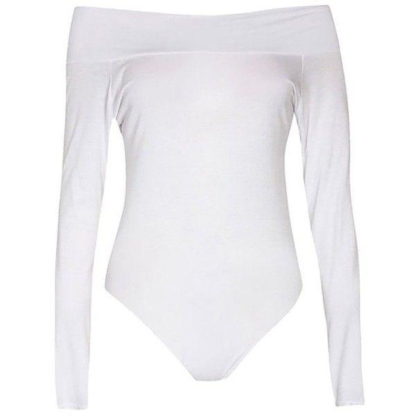 Amazon.com: ZHU Womens Long Sleeve Off Shoulder Sexy Bodysuit Leotards... ($10) ❤ liked on Polyvore featuring jumpsuits, sexy long sleeve jumpsuit, sexy jumpsuits, sexy jump suit, white off the shoulder jumpsuit and white long sleeve jumpsuit