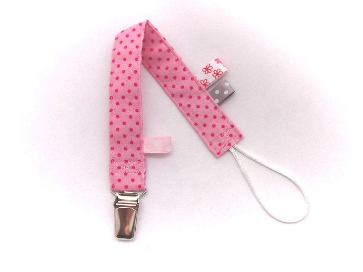 Speenkoord roze met stipjes -Handmade by Francien www.handmadebyfrancien.nl