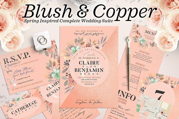 Wedding Suite IX - Blush Copper by The Wedding Shop on @creativemarket
