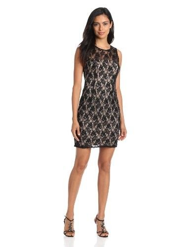 Adrianna Papell Women's Lace Dress with Sheer Back, Champagne/Black, 4