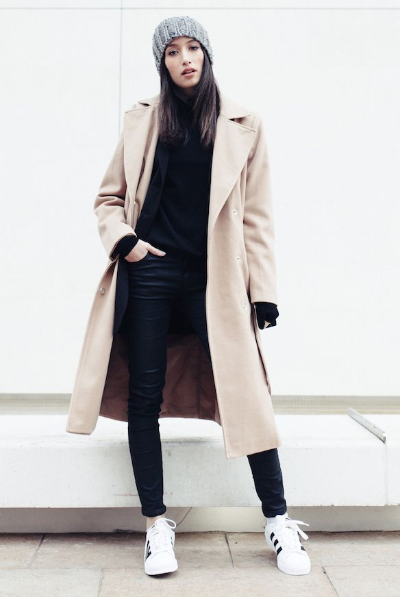 fall / winter, winter fashion, street style, athleisure, winter outfits, casual outfits, comfy outfits - grey knit beanie + black blazer + black turtleneck top + black coated skinny jeans + camel long coat + black and white sneakers
