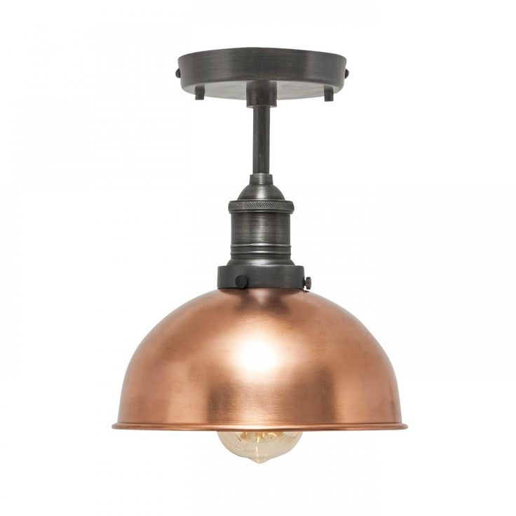 Our stylish Brooklyn Vintage Small Metal Dome Flush Mount Light by Industville is an antique retro styled metal lampshade in a copper finish.