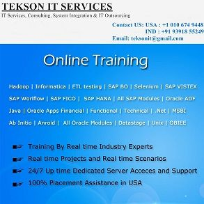 Tekson IT is a best institute for MSBI Online Training. It is great opportunity whoever wants to learn MSBI course through online because we have highly dedicated and experienced MSBI professional trainers.   Please call us for the Demo Classes we have regular batches and weekend batches.  Contact Number: INDIA: +91 9391855249, USA: +1 323 300 8993,  Email: teksonit@gmail.com,  Web: http://www.teksonit.com/msbi-online-training/