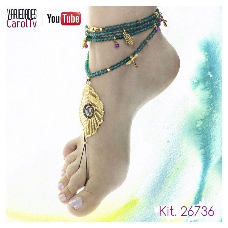 Incluye en tus colecciones creaciones diferentes e innovadoras, adquiere el KIT para armar esta hermoso Barefoot Sandals haciendo clic en el pin. #Bisutería #Insumos #Accesorios #Moda #Tendencia #Joyas #Color #Tendencias #Diseños #CarolTv #DIY #Pulseras #Collares #Dijes #2016 #Swarovski #Cadenas #Tejidos #Dijes