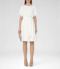 Hermione Off White Cut-away Shoulder Dress - REISS