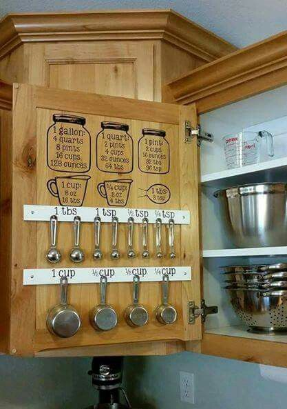 Such a great organization of measuring cups and spoons. Love the conversion charts above to help make splitting or doubling recipes super easy! #kitchenorganization #DIYkitchen