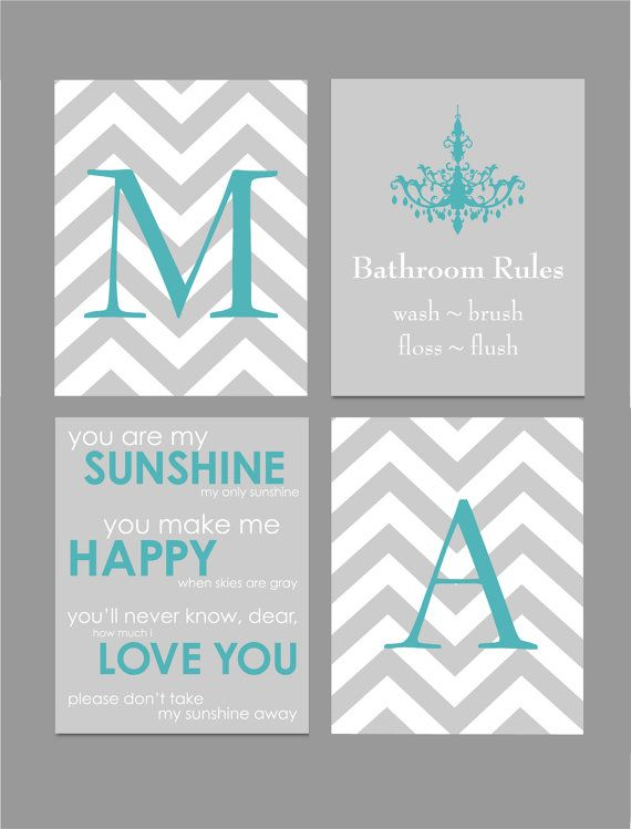 Teal And Gray Bathroom Art Home Decor Prints You Are My Sunshine Chandelier Chevron Monogram Set Of Four 8x10s Choose Colors In 2018 For The