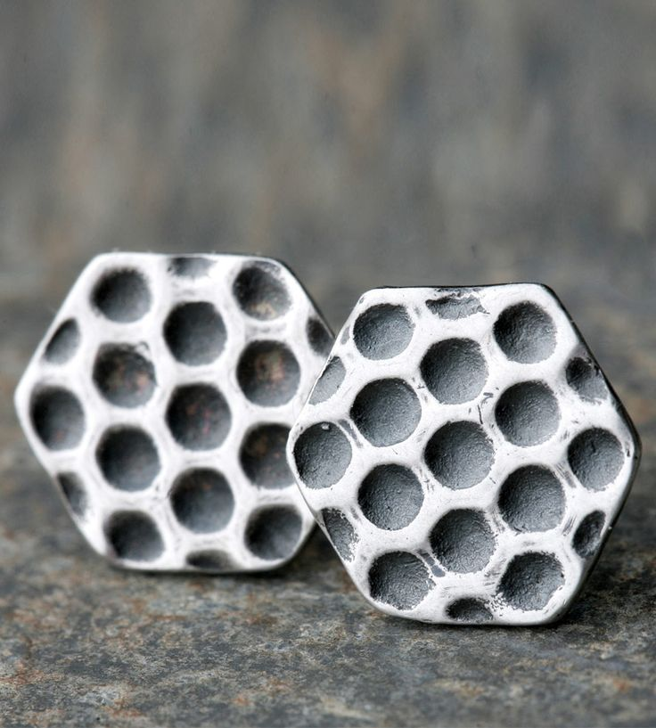 Honeycomb Sterling Silver Earrings | Small but fierce, these silver honeycomb studs will add some t... | Earrings