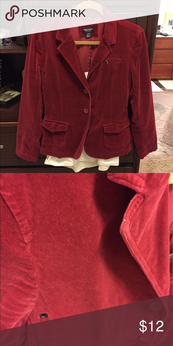 American Eagle jacket Red American Eagle Outfitters microfiber/coirderoy jacket American Eagle Outfitters Jackets & Coats Blazers