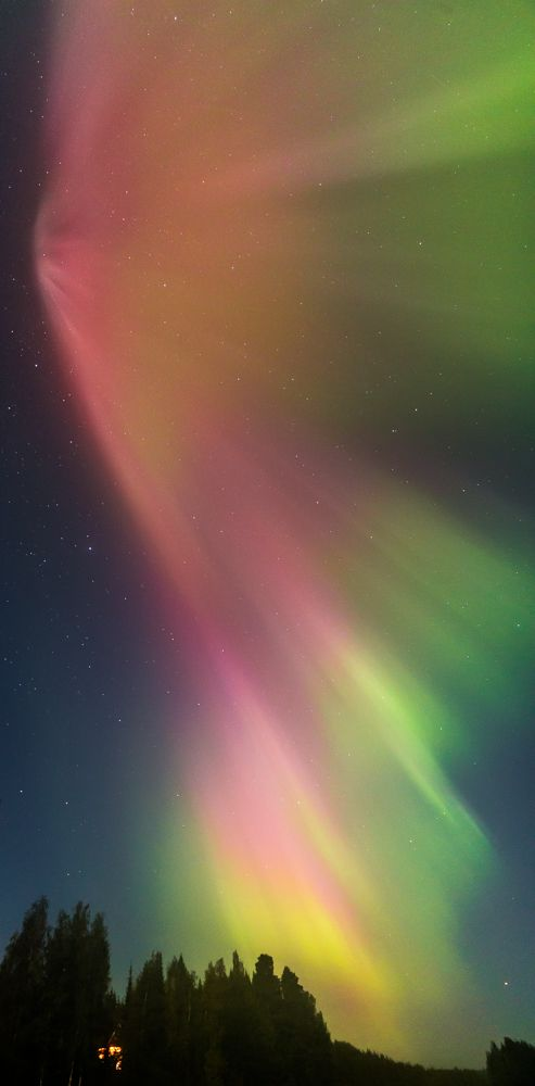 Aurora cascade taken September 12, 2014 near Kuopio, Finland.