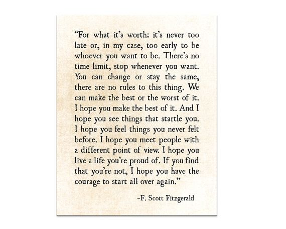 F Scott Fitzgerald Print For What Its Worth Fitzgerald