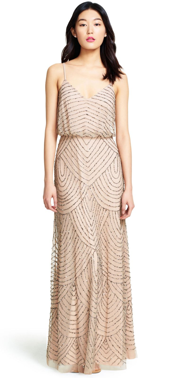 Art Deco Beaded Blouson Gown - Adrianna Papell