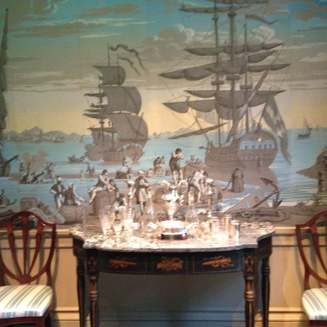 The Baltimore Drinking Room at Winterthur, stunning woodblock wallpaper.