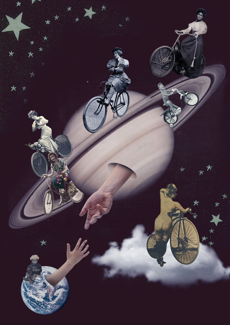 Rolê de Bike - C'Mon earth! Let's go.  #bikerchick  #bike #saturn #astrology #collage #art