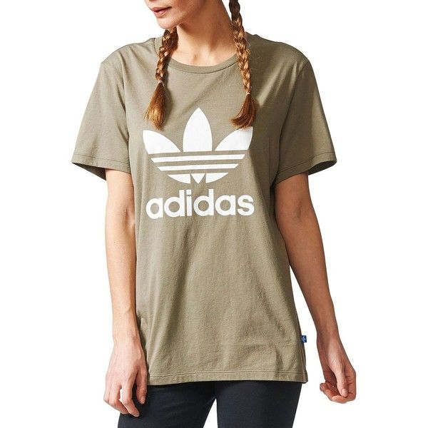 Adidas Boyfriend-Fit Trefoil Tee ($30) ❤ liked on Polyvore featuring tops, t-shirts, beige, adidas trefoil tee, adidas tee, crewneck tee, brown t shirt and short sleeve tops